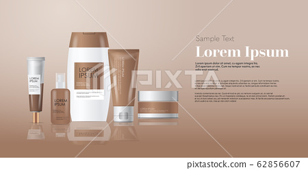 Set Of Cosmetic Or Perfume Containers Bottles Stock Illustration 62856607 Pixta