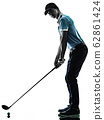 Man Golf golfer golfing isolated shadow silhouette white background 62861424