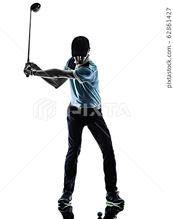 Man Golf golfer golfing isolated shadow silhouette white background 62861427