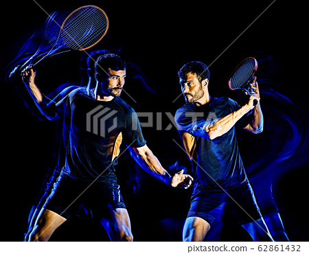 Tennis player man light painting isolated black background 62861432
