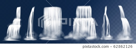 Cascade waterfall. Realistic 3D falling mountain streams with fog, water flow with splashes. Vector waterfalls isolated on transparent background 62862126