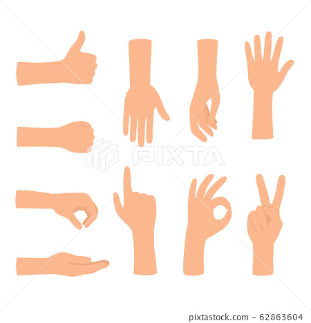 Hands gestures isolated on white background. Colored hand gesture set 62863604