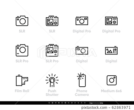Pro Camera icons line set. Digital, SLR, Film and Phone Camera Push Shutter. Editable vector stroke. 62863971