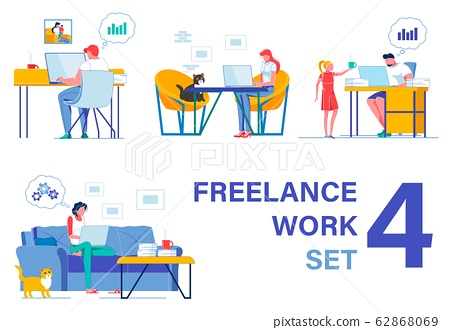 Freelancers Working from Home. Four Pieces Set 62868069