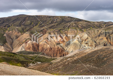 Landmannalaugar Colorful mountains on the Laugavegur hiking trail. Iceland. The combination of 62868193