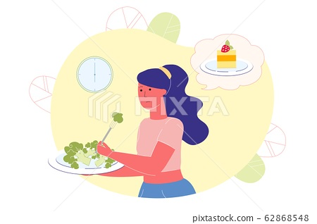 Overweight Woman Eats Broccoli, Thinks about Cake. 62868548