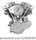 Motorcycle engine drawing. 62868584