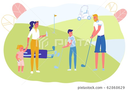 Family Members Playing Golf on Field Together. 62868629