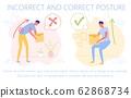 Correct, Incorrect Posture to Pick up Heavy Box. 62868734