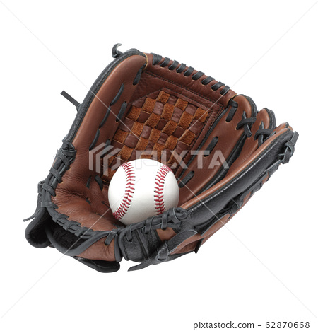 Baseball glove mitt and ball isolated on white background with clipping path 62870668