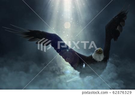 Bald eagle flying over the clouds 3d illustration 62876329