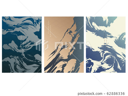 Painting background with Japanese wave pattern vector. Marble wallpaper in oriental style. Abstract template. 62886336