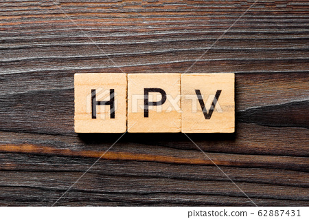 HPV word written on wood block. HPV text on wooden 62887431