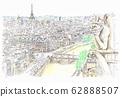 Cityscape of World Heritage, France, Paris, Overlook from Notre Dame Cathedral 62888507