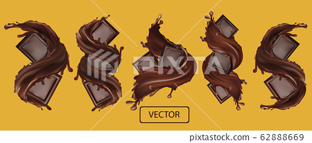 Chocolate bar with splashing and whirl chocolate liquid. Realistic vector. Pieces of chocolate, which with drops. Vector illustration 62888669
