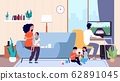 Single mother. Mom feeds baby, large family. Nanny or babysitter and little children in room vector illustration 62891045