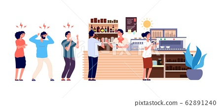 Morning coffee. People queue in cafe. Angry and... - Stock Illustration  [62891240] - PIXTA