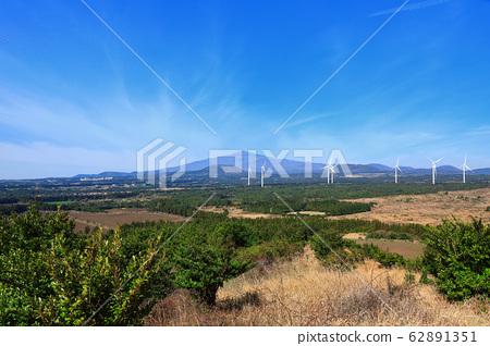 제주농촌풍경,전망,오름,청정에너지,풍력발전기,태양광발전기, 62891351