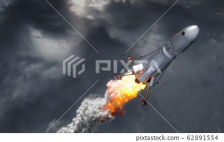 rocket on cloud sky background, 3d illustration 62891554