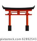 Japanese red torii gate vector graphic illustration. Traditional column arch 62892543