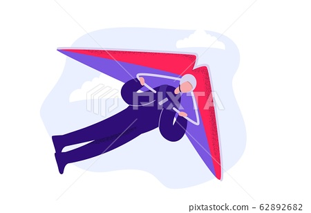 Cartoon male enjoying extreme sport hang gliding vector flat illustration 62892682