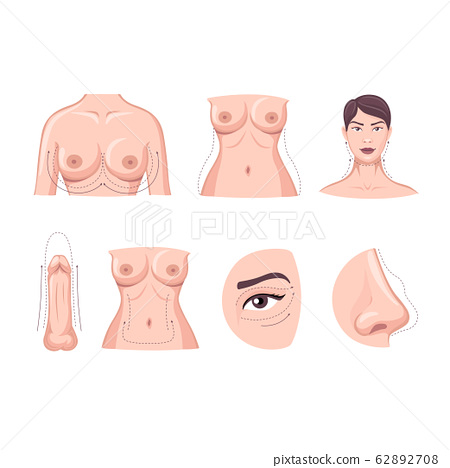 Collection of cartoon plastic surgery body part isolated on white background 62892708