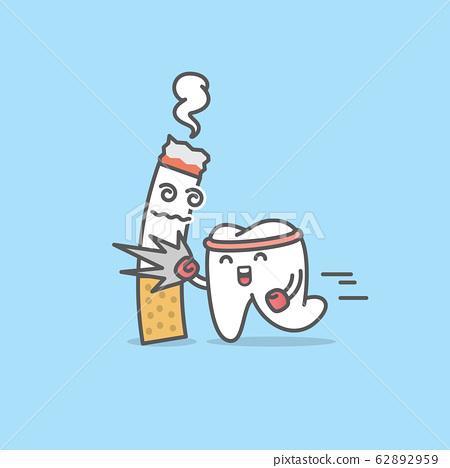 Dental cartoon of a tooth hit a cigarettea 62892959