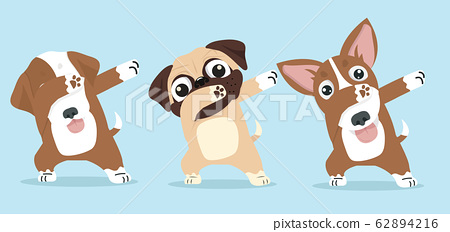 Cute dabbing Dog cool cartoon vector set 62894216