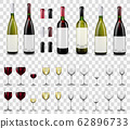 Full and empty wine glasses. Red and white wine bottles. 62896733