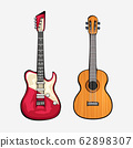 two different guitars front view 62898307