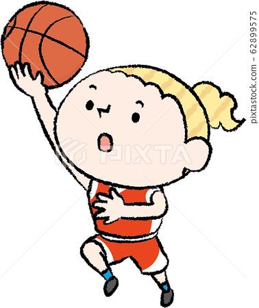 籃筐上籃射門白人婦女 62899575