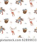 Jungle animals fun cute seamless pattern vector. Childish cartoon background with monkey, koala and sloth. 62899633