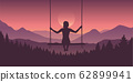 girl on a swing at beautiful purple mountain and forest landscape with rising sun 62899941