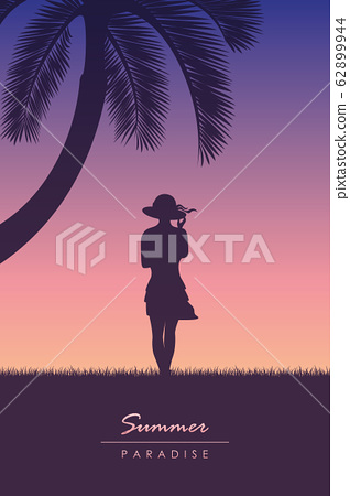 young girl with hat on summer holiday tropical palm background 62899944