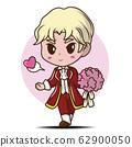 Cute Boy Character In love., Cartoon Character. 62900050