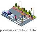 Pedestrians at a Crosswalk and Policeman illustration isometric icons on isolated background 62901167