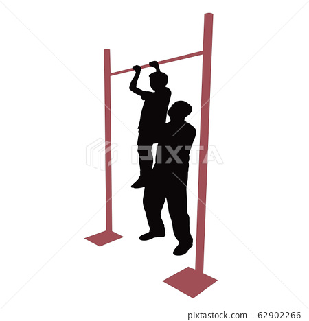 man and boy exercising silhouette vector 62902266