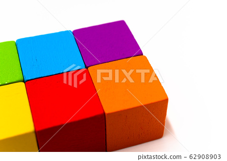 Colorful building blocks white background 62908903