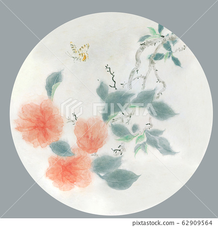 典雅的水墨花材料,瓷器材料,設計 62909564