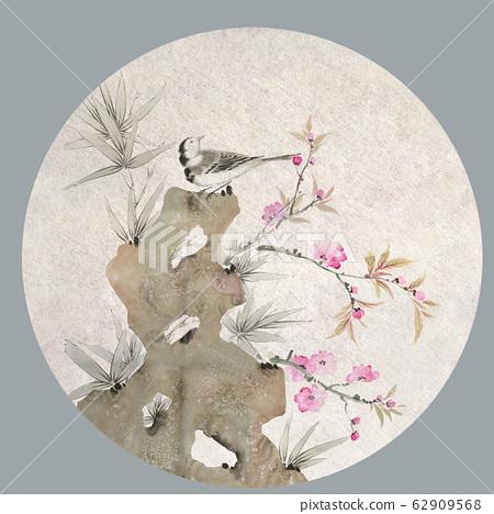 典雅的水墨花材料,瓷器材料,設計 62909568
