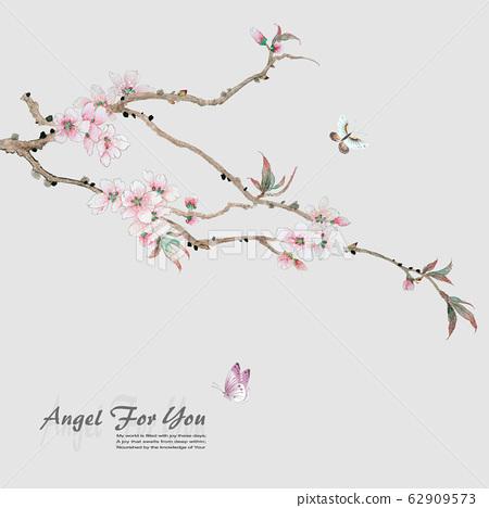 Elegant ink flower material, china material, design 62909573