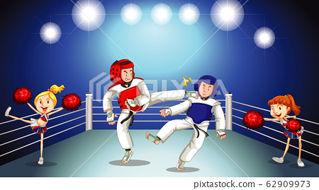 Scene with two taekwondo players fighting on stage 62909973
