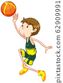 Athlete playing basketball on white background 62909991