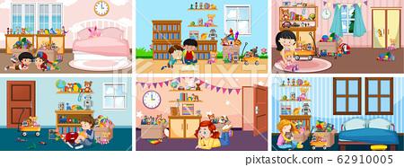 Six scenes with children doing activities in 62910005