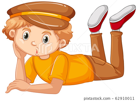 Boy in yellow shirt laying down on white 62910011