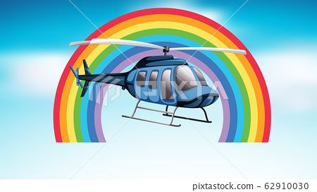 Helicopter flying in the blue sky with rainbow 62910030
