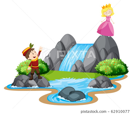 Scene with prince and princess by the waterfall 62910077