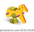 Rocking horse isometric vector illustration 62911028