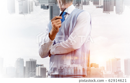 Conceptual image of successful businessman. 62914621
