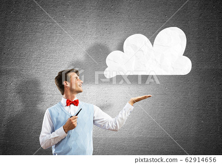 Conceptual image of young businessman. 62914656